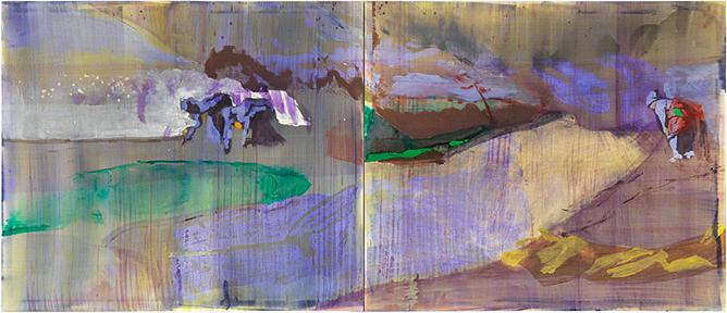 LD LIII, 2015 Öl u. Wasser auf Leinwand, zweiteilig je 125 x 145 cm (125 x 290 cm), Courtesy GALERIE KNOELL