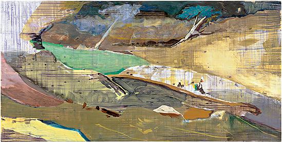 LD XLII, 2014, Öl u. Wasser auf Leinwand, 125 x 250 cm