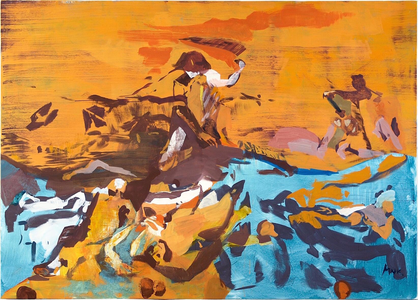 La Guerre VII, 2021, Öltempera auf Leinwand, 180 x 250 cm